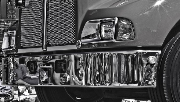 Fire Truck Grill black and white photograph
