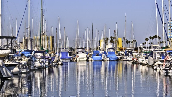 Sailboats in Harbor, Rainbow Harbor, Long Beach, CA